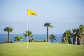 Flag in hole on golf course overlooking ocean.
