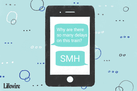 An illustration of a mobile device that has a conversation onscreen with 'SMH' included