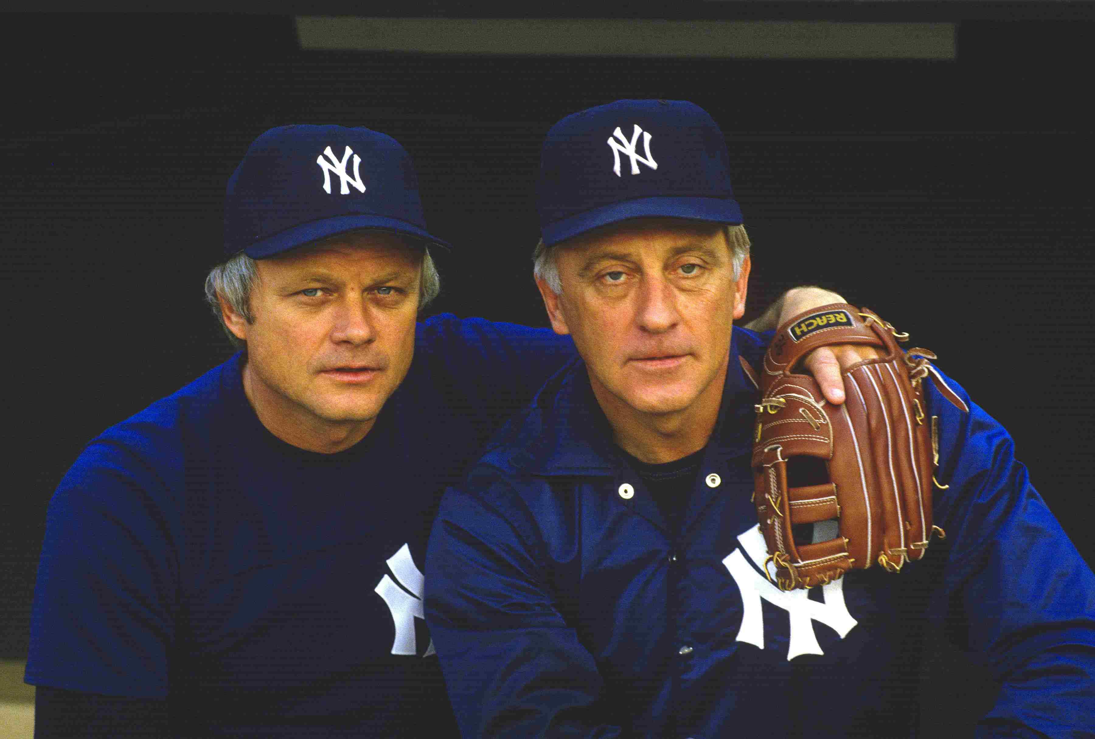 Pitcher Phil Niekro #35 (right) and brother Joe Niekro #31 (left) of the New York Yankees