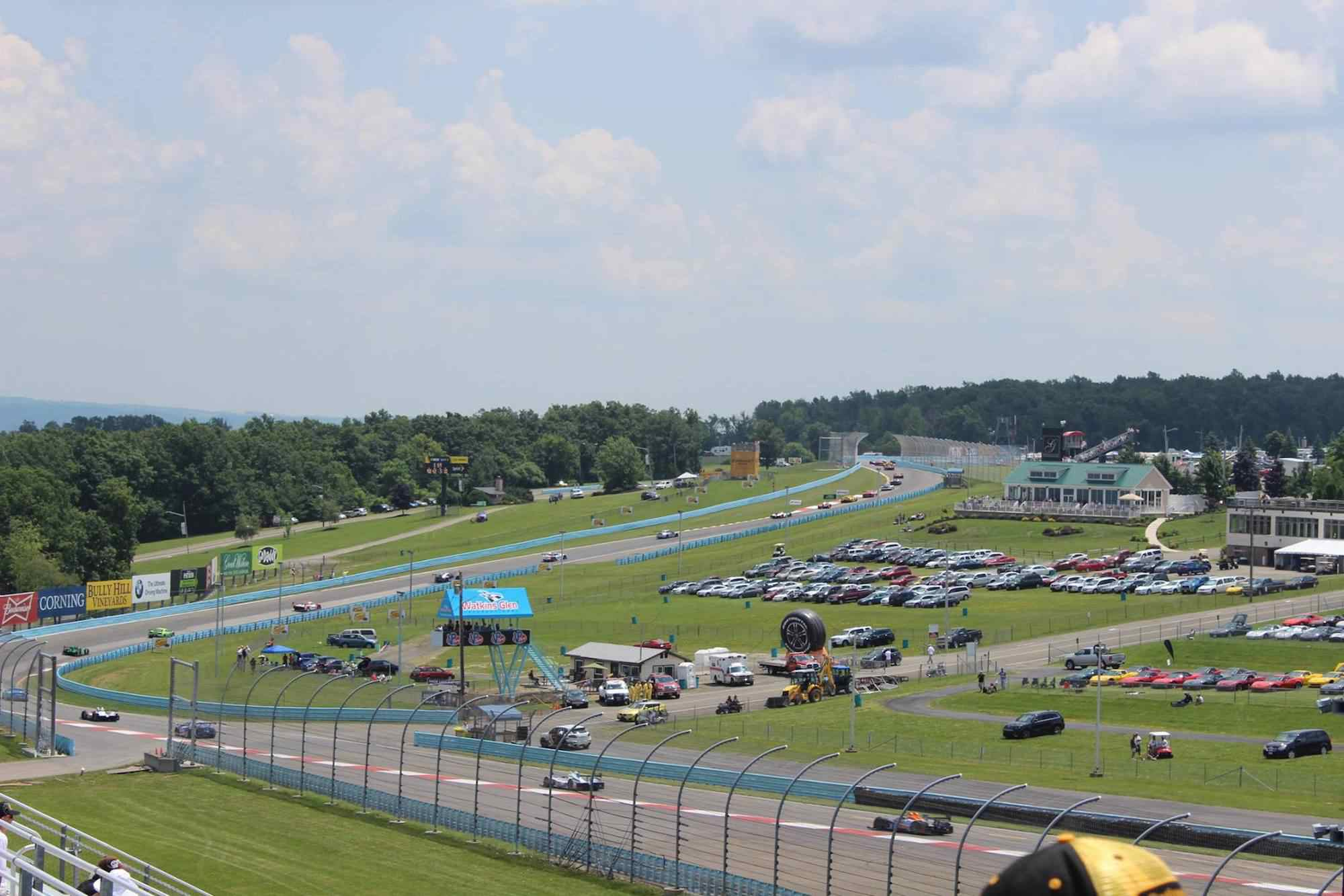 Cars drive through the Esses during the 2014 Sahlen's Six Hours of The Glen.
