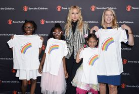 LOS ANGELES, CA - OCTOBER 11: (L-R) Girls from Save the Children programs Breyanna Williams, Larissa Rodney, Aya Blanch, Save the Children Ambassador Rachel Zoe and President and CEO of Save the Children Carolyn Miles pose with shirts from Rachel Zoe's Omaze T-shirt Campaign benefiting Save the Children on International Day of the Girl on October 11, 2018 in Los Angeles, California. (Photo by Presley Ann/Getty Images for Save the Children)