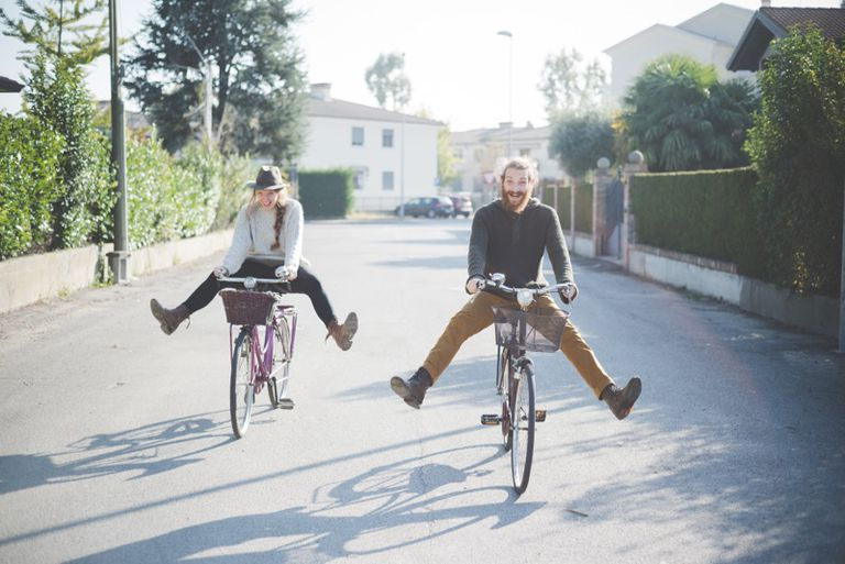 Couple biking