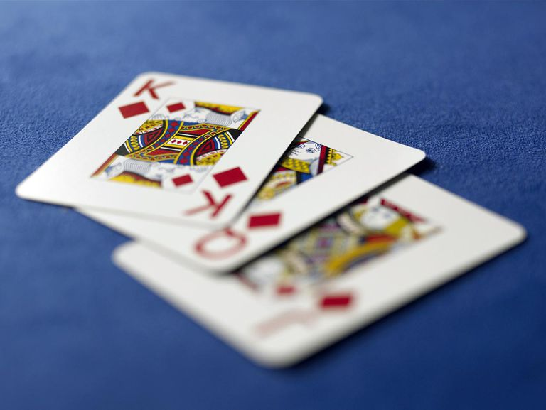 Playing cards in casino, close-up