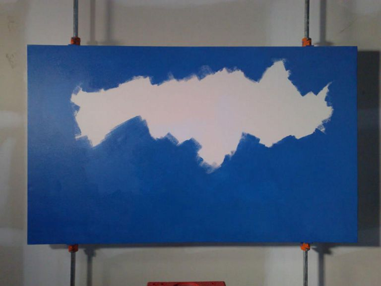 Prussian Blue Hue applied with roller.
