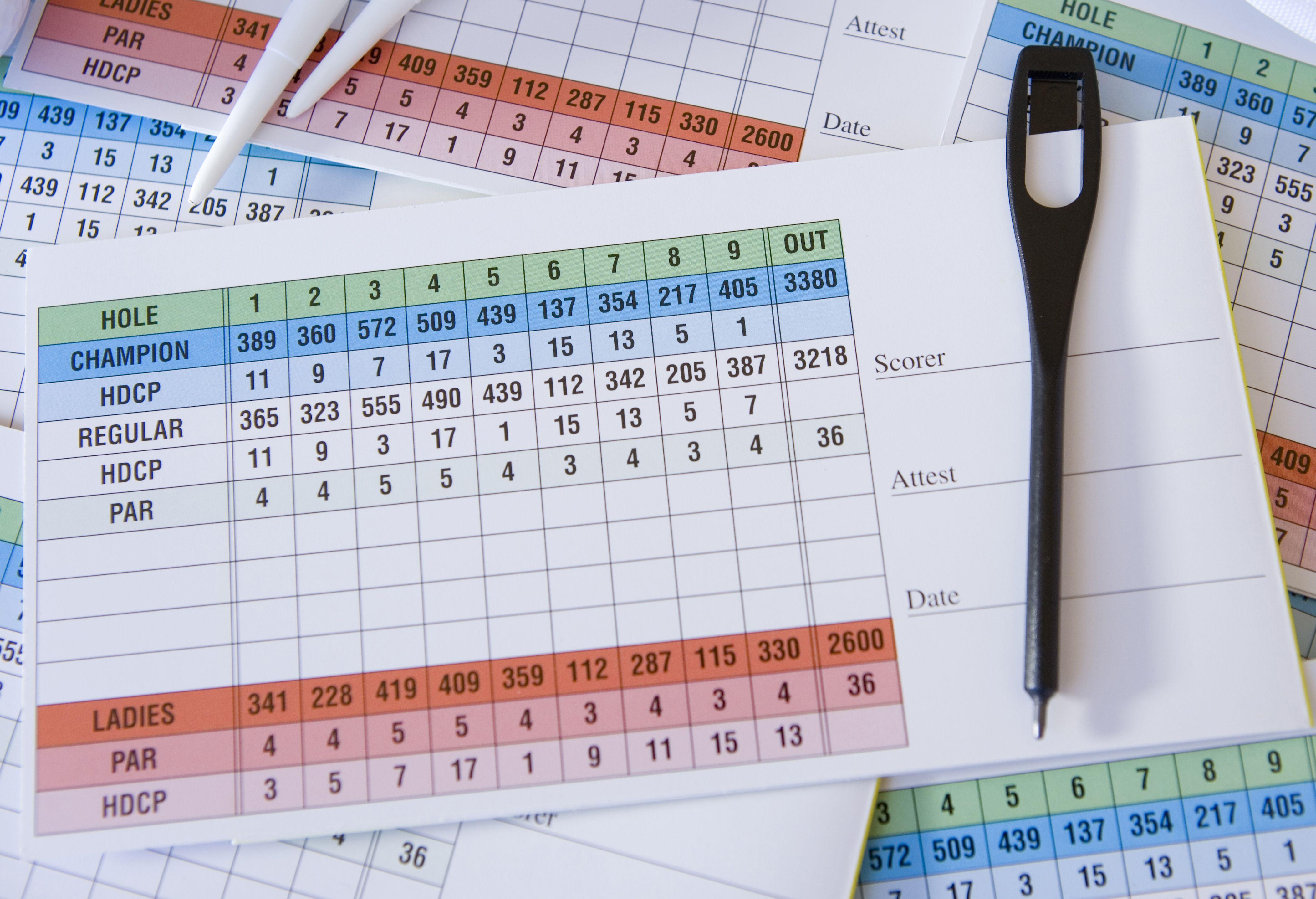 Photo of a golf scorecard