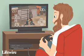 An illustration of a person playing Warriors on PS2