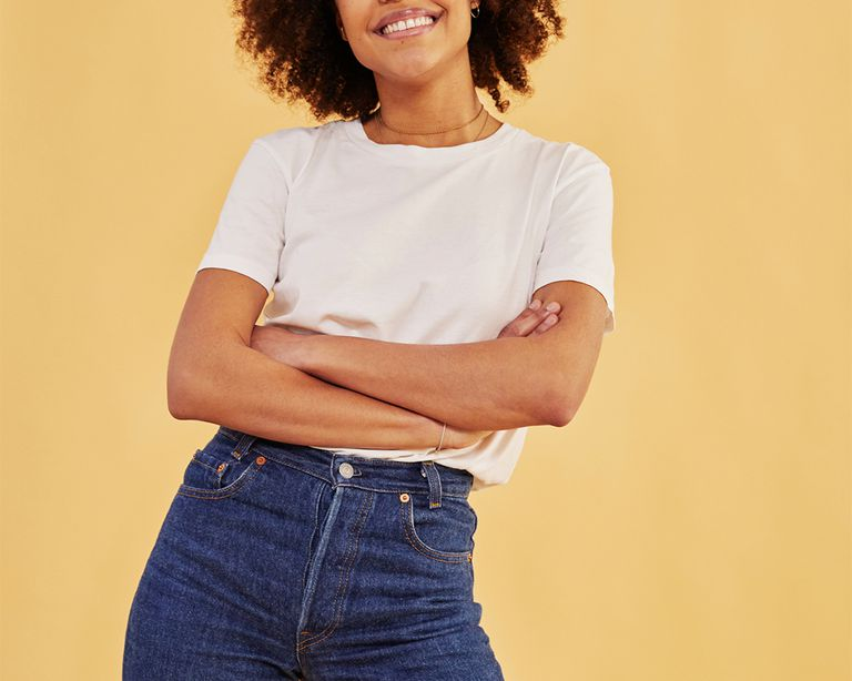 mixed girl in jeans and t shirt