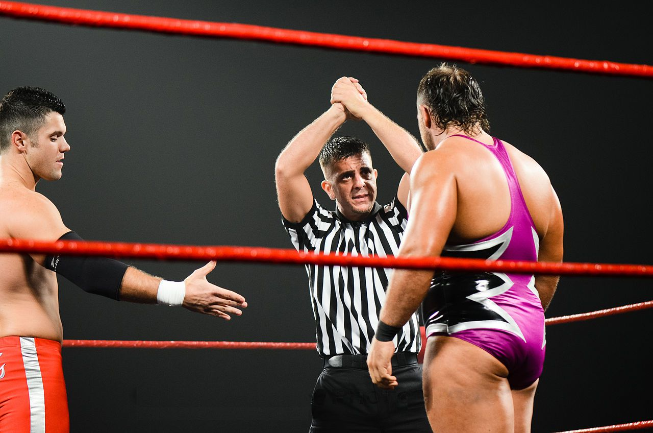 Two wrestlers begin a Ring of Honor bout.