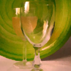 Glasses with a green background