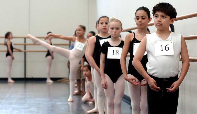 Children waiting to Audition For The American School Of Ballet In New York City.