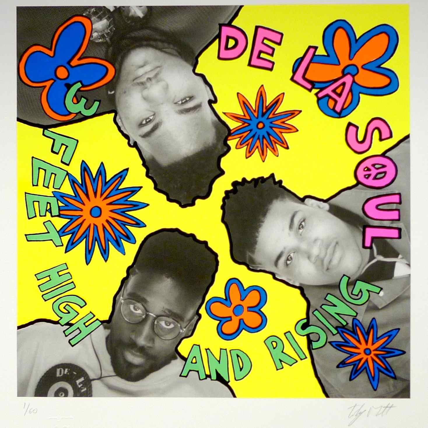 Giclée print of original album art work of De La Soul's 3 Feet High and Rising, designed by Toby Mott.