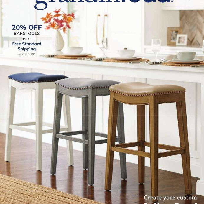 The cover of the October 2019 Grandin Road catalog featuring barstools in a kitchen