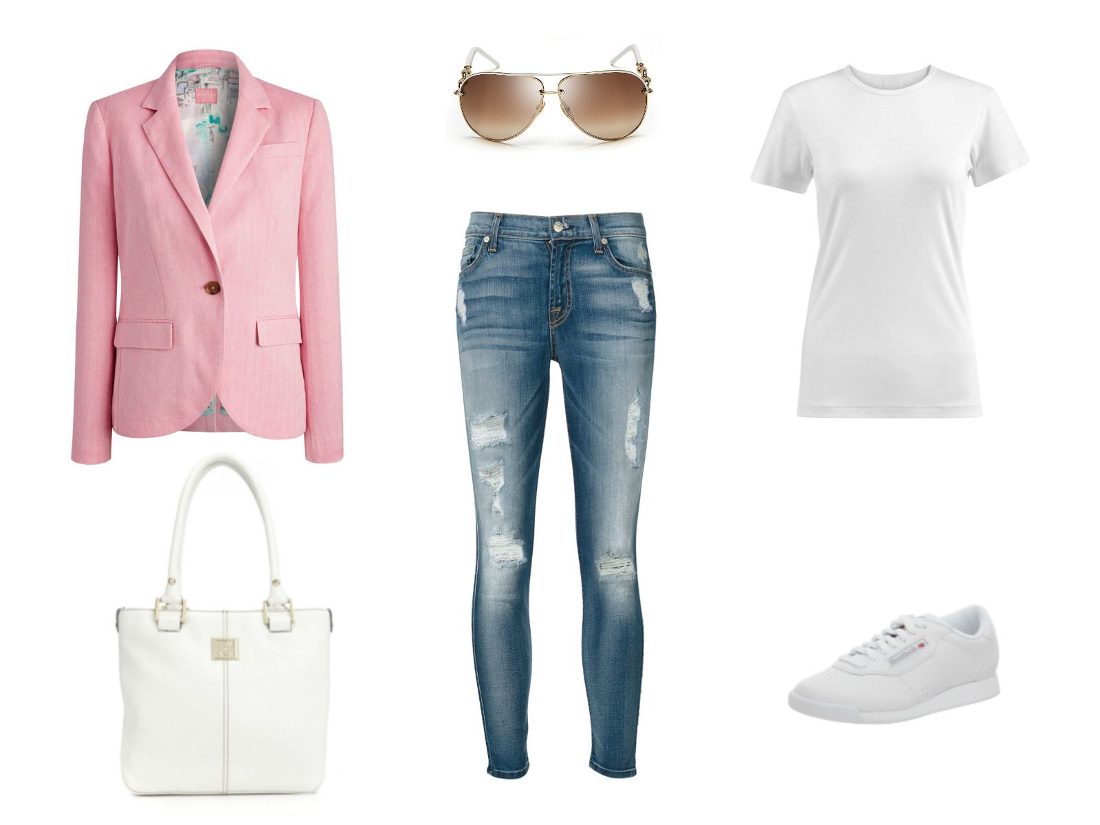 Outfit idea - cropped jeans and pink blazer