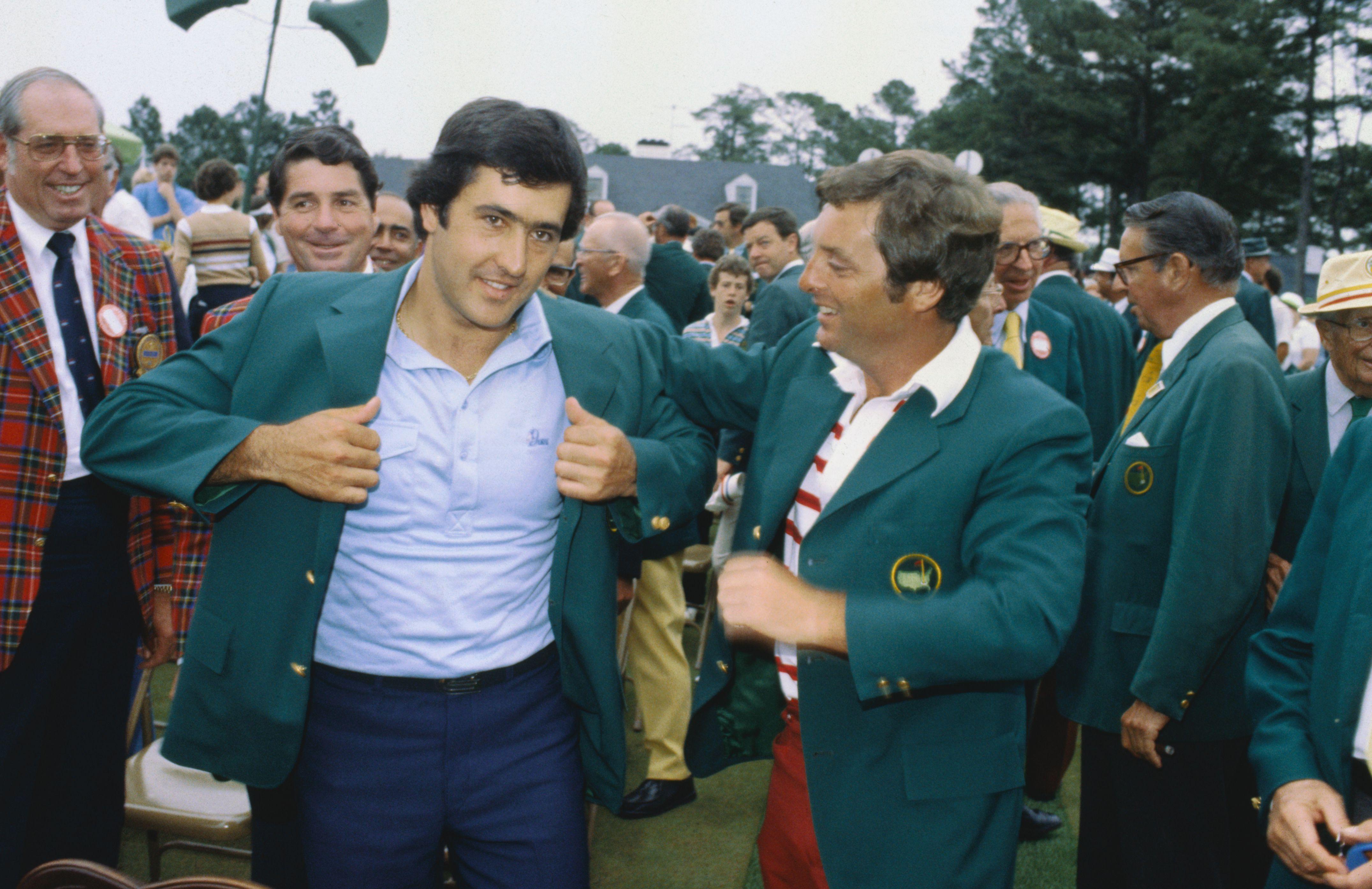 Seve Ballesteros Spanish professional golfer, winner of 1980 Masters tournament, wearing green coat.