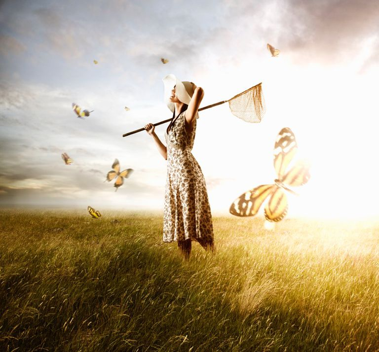 A woman in a field with a butterfly net and butterflies