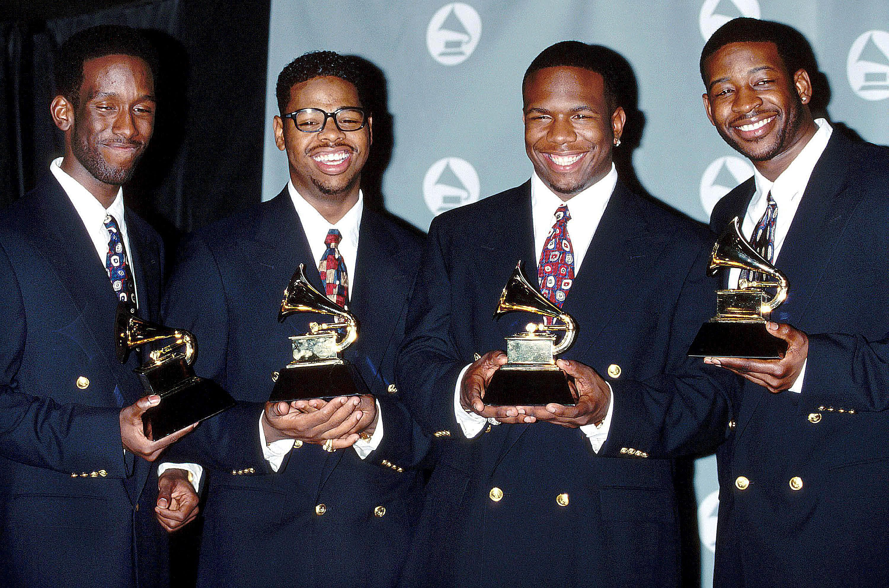 Boyz II Men at the 35th annual Grammy Awards on February 24, 1993 at the Shrine Auditorium in Los Angeles, California.