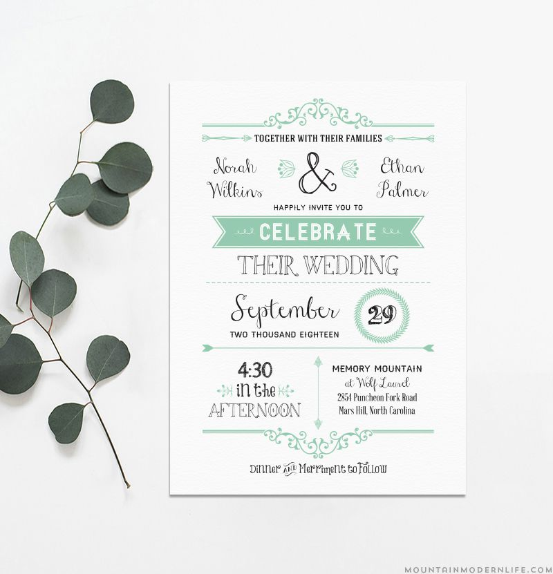 A green and white wedding invitation template