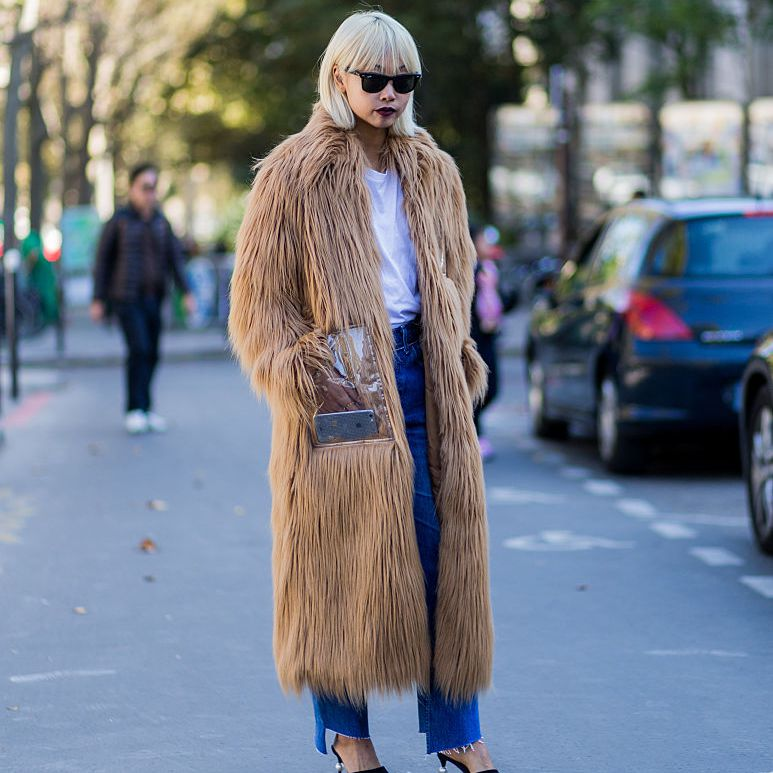 Street style - shaggy faux fur and jeans