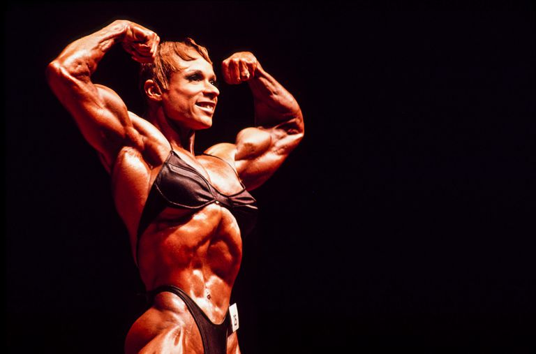female bodybuilder flexing