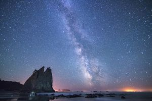 milky way over Rialto Beach in Olympic National Park