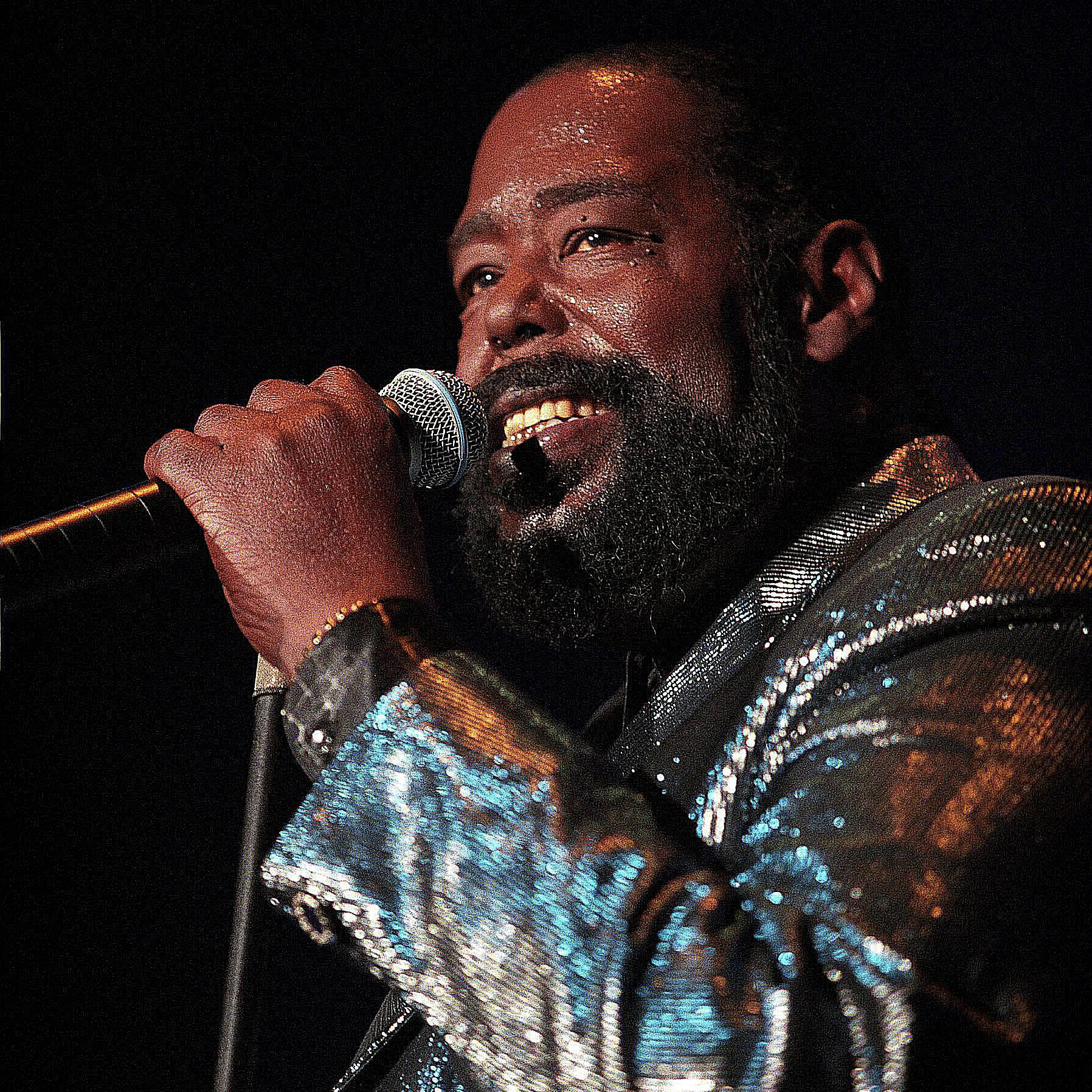 Portrait of Barry White during a performance