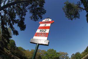 Yardage marker on a golf hole at Hilton Head