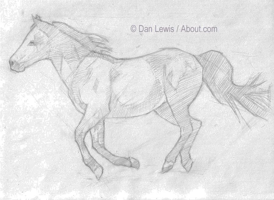 sketching horses - begin the shading