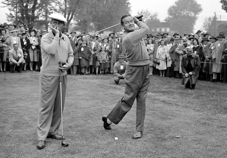 Bing Crosby and Bob Hope play a golf benefit for the Navy League at Llanerch Country Club near Philadelphia