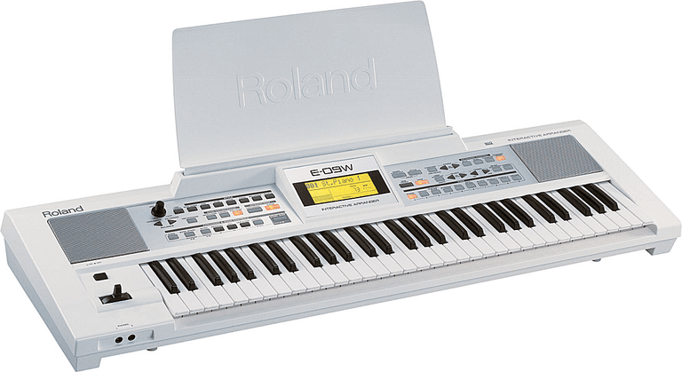 a white Roland E-09 keyboard