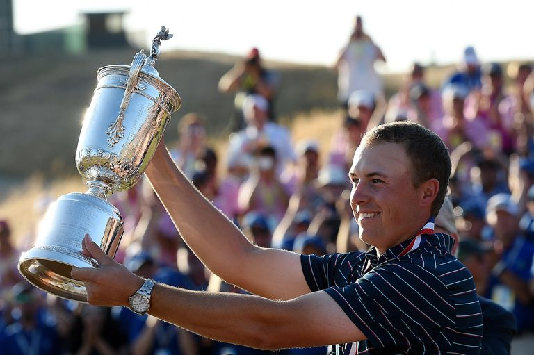 Jordan Spieth of the United States poses with the trophy after winning the 115th U.S. Open Championship at Chambers Bay on June 21, 2015