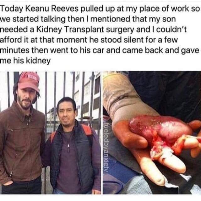 fake story about Keanu Reeves giving fan a kidney