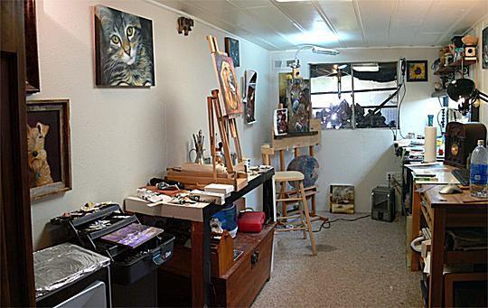 Painting studio of artist Jeff Watts