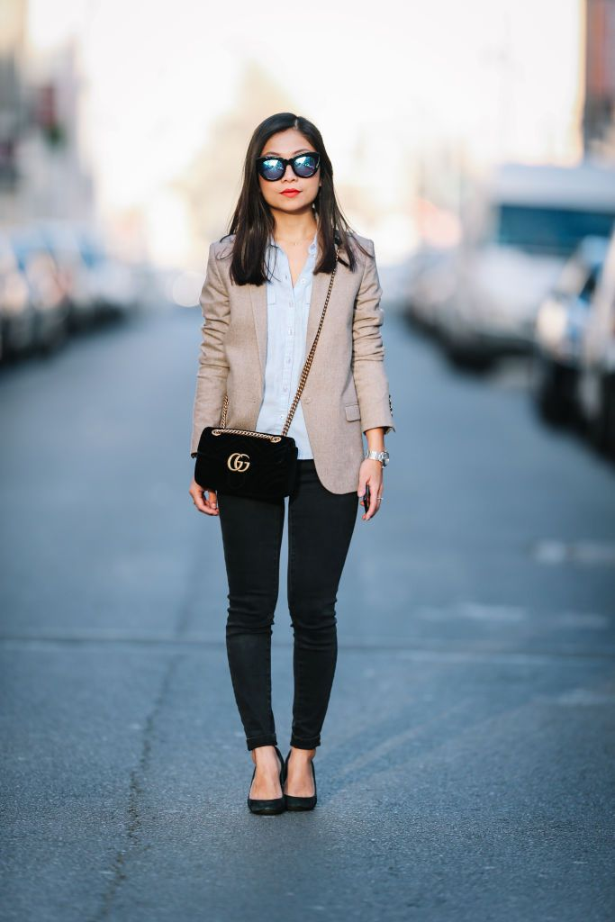 Go-to Office Outfit  Black Skinny Jeans and Light Blazer b86a23afb