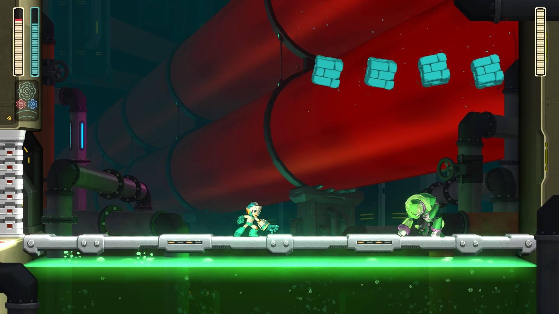 Mega Man attacks Acid Man in Mega Man 11
