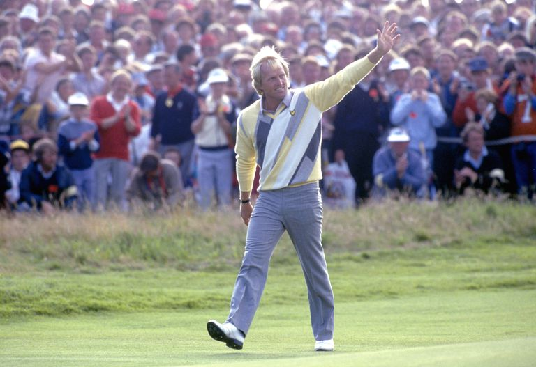 Greg Norman waving to the crowd at the 1986 Open Championship