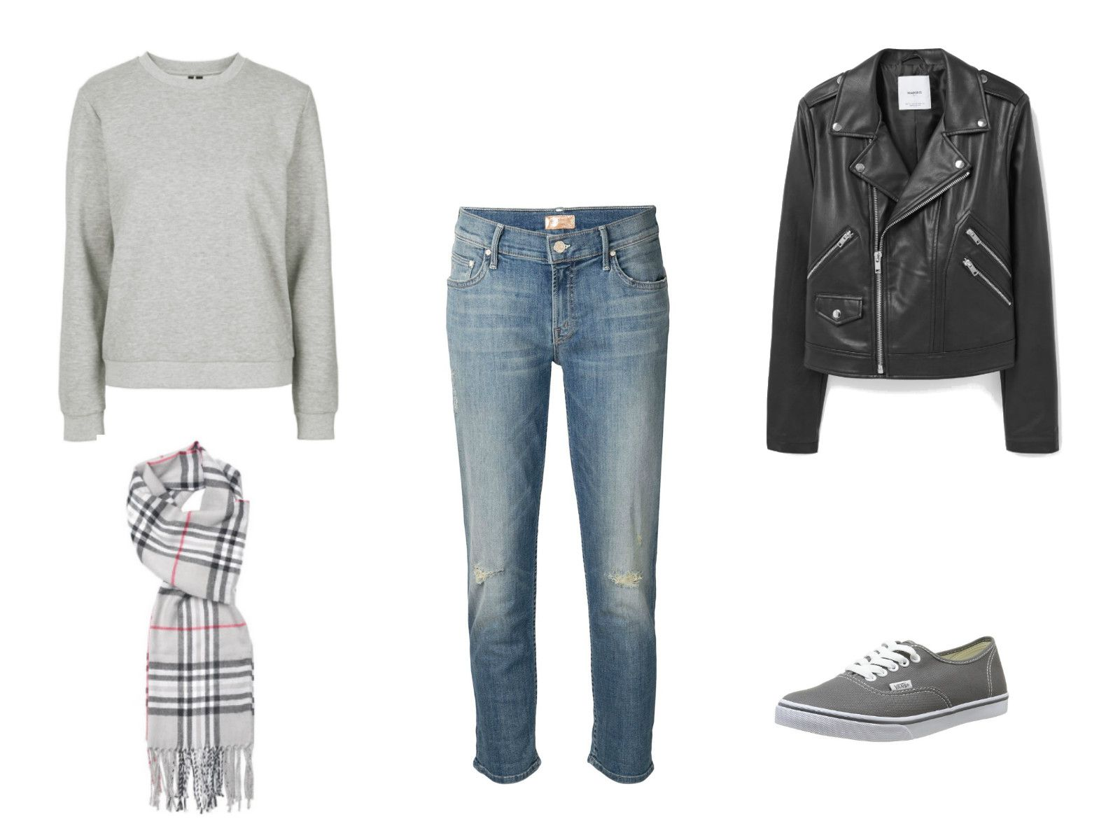 Outfit idea - cropped jeans and leather jacket