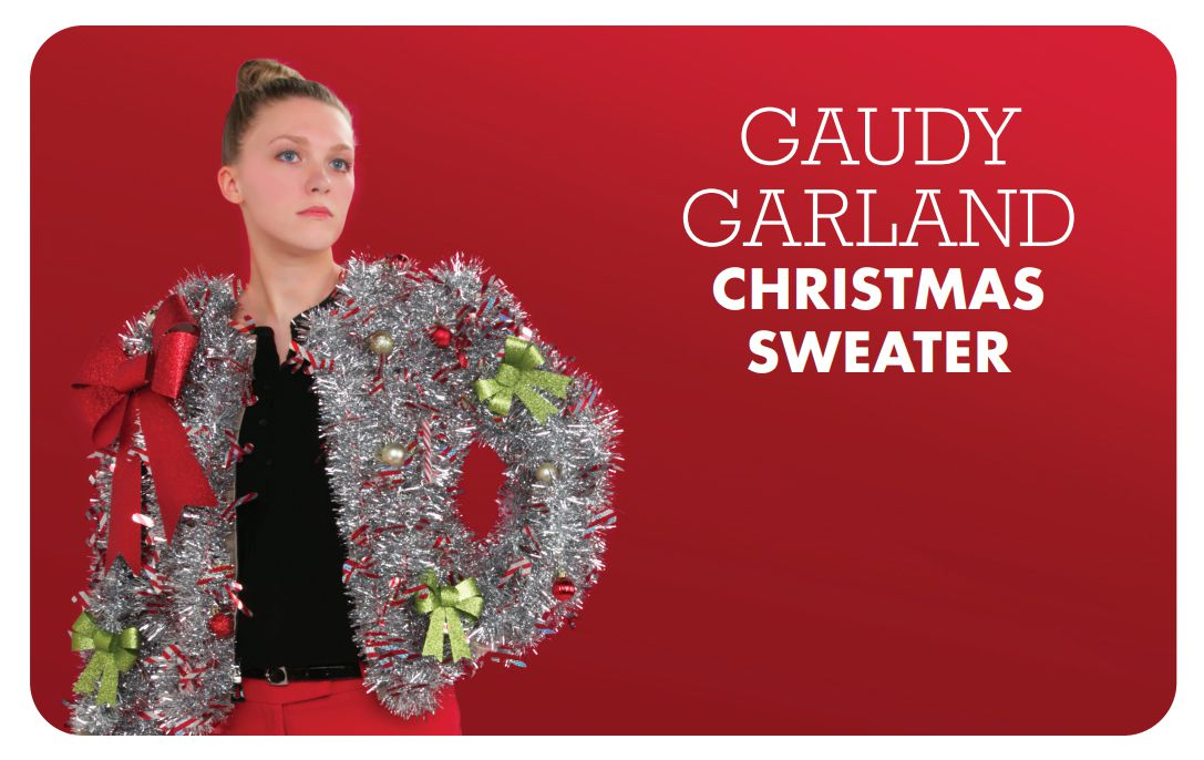 A woman in an ugly Christmas sweater