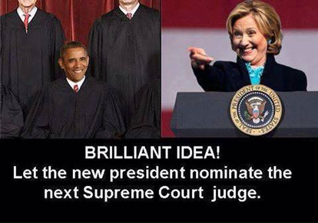 Hillary Appointing Obama to Supreme Court