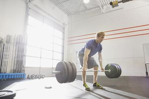 Man deadlifting in the gym