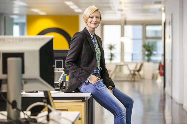 Woman in jeans at the office