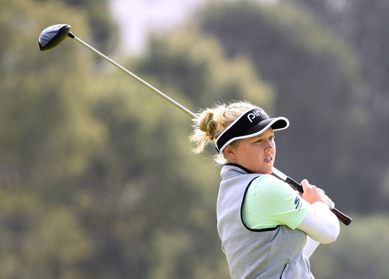 Brooke Henderson of Canada hits driver on the 14th tee during round two of the Hugel-JTBC Championship at the Wilshire Country Club on April 20, 2018 in Los Angeles, California.