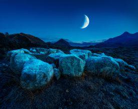 Moonrise Over Sligachan Isle of Skye Scotland