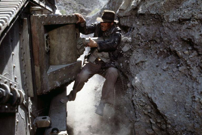 Harrison Ford performing a stunt in the 1989 film Indiana Jones and the Last Crusade