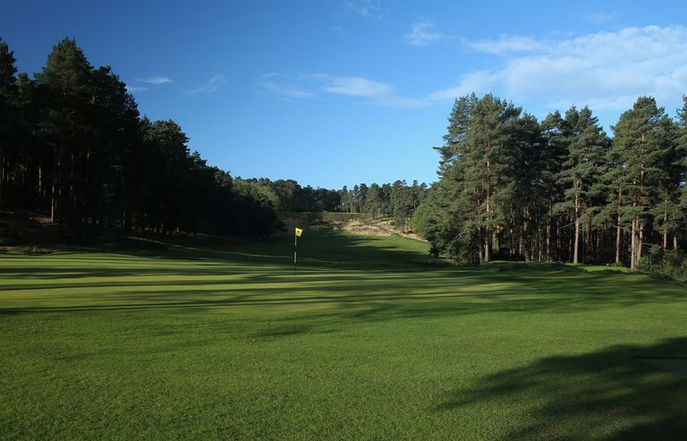 A general view/ course scenic of the tenth hole on the Old Course at Sunningdale Golf Club on April 30, 2015 in Sunningdale, England.