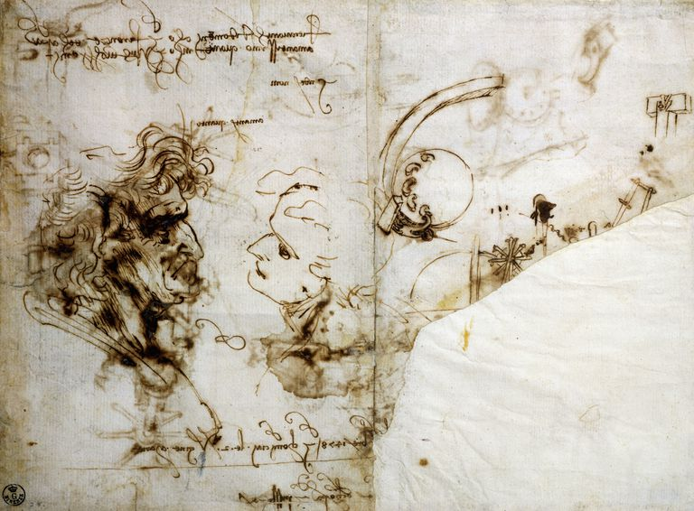 Studies of Male Profiles by Leonardo da Vinci