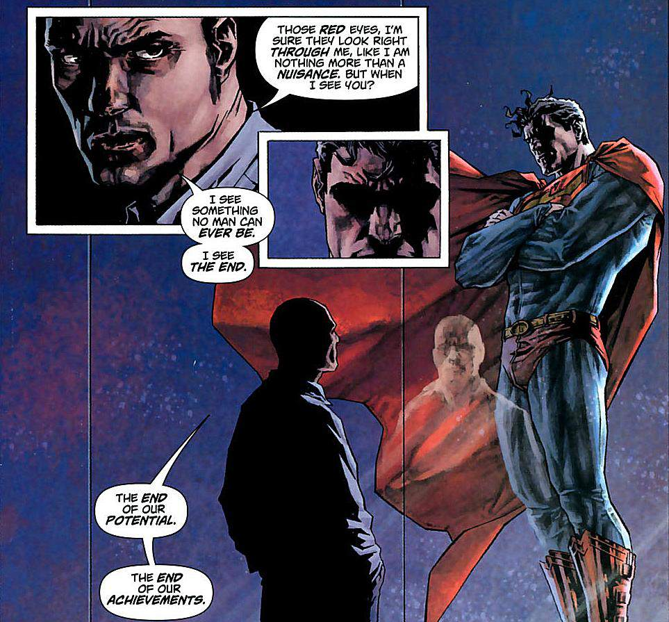 Another particularly tense panel for Superman and Luthor, in