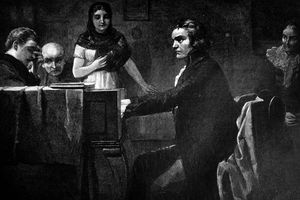 Ludwig van Beethoven during his piano performance - 1896