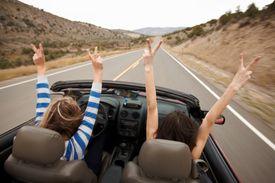 Celebrating on a road trip.