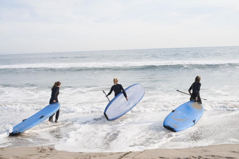 3 women going surfing