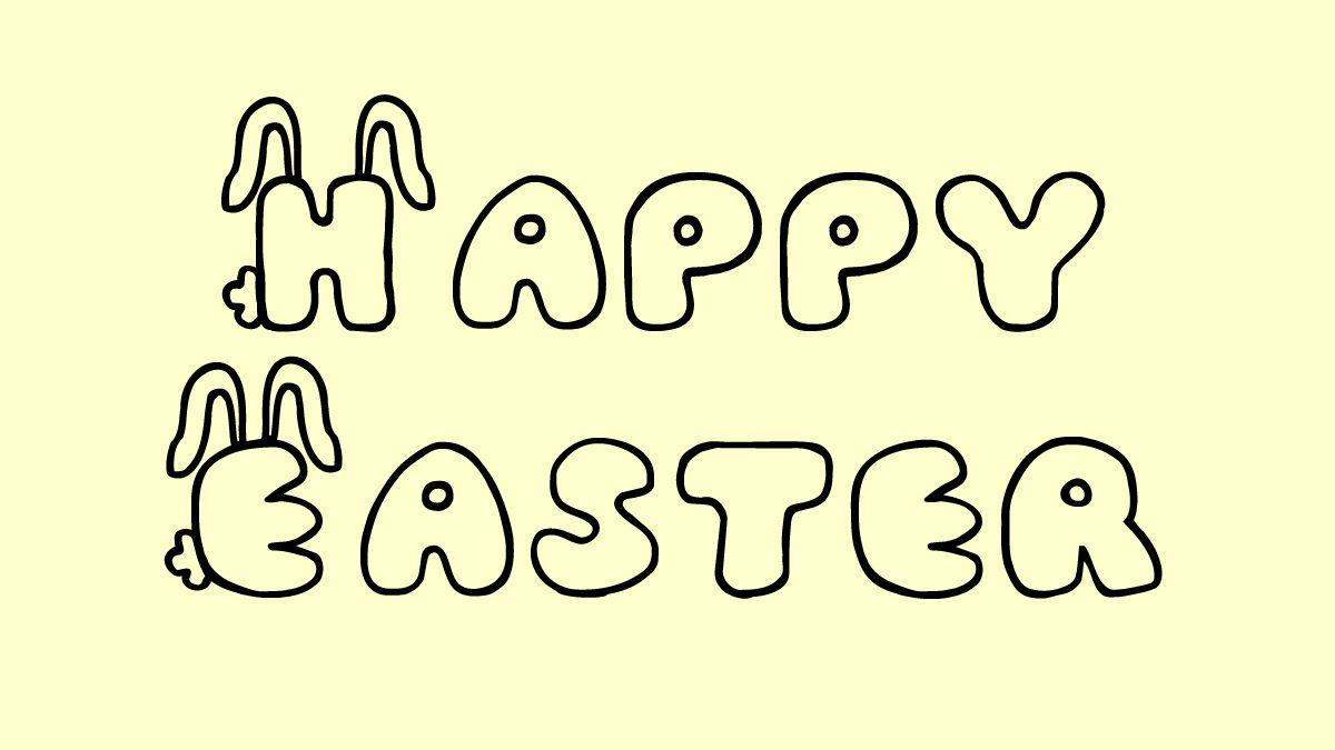 """""""Happy Easter"""" in JI Bunny Caps font"""